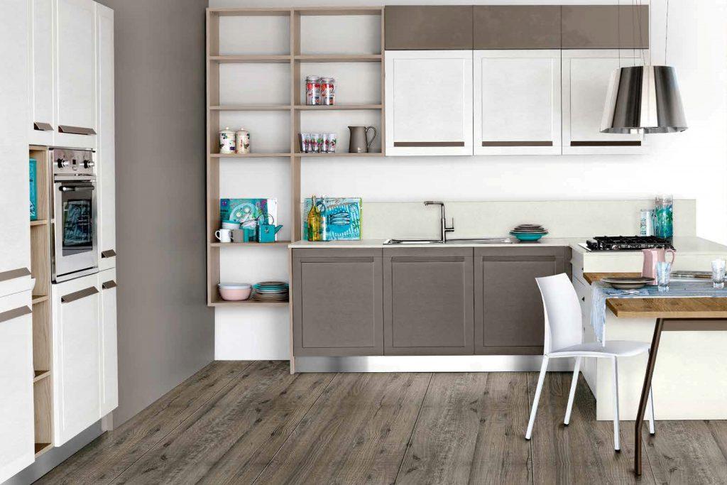 cucina su misura laccata poro aperto tavolo legno acciaio ...