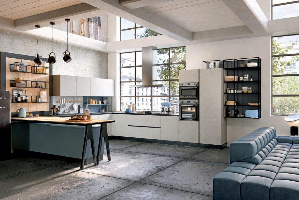 Cucina industrial style laccata e legno di abete massello for Design d interni