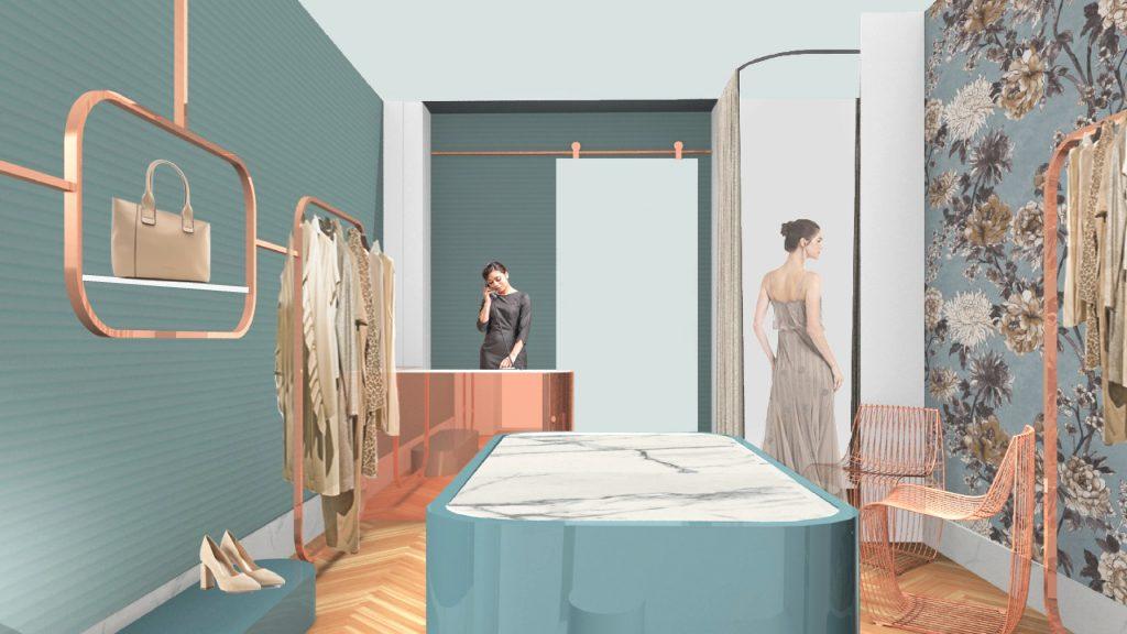 architettura interni boutique negozi punti vendita abbigliamento profumerie pelletterie